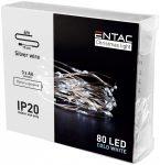 Entac Karácsonyi Beltéri Drótfüzér 80 LED hideg fehér 4m (3AA nt.)